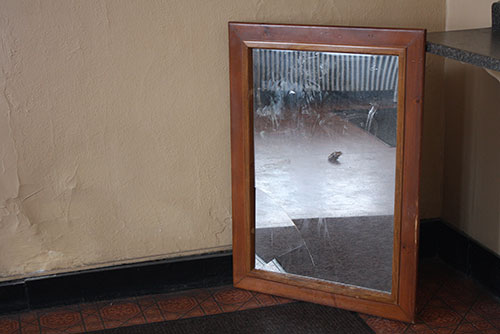 A dirty and partially broken mirror sits on the floor propped between a wall and a counter. It reflects a wadded up paper towel, the carpet, and the tile flooring.